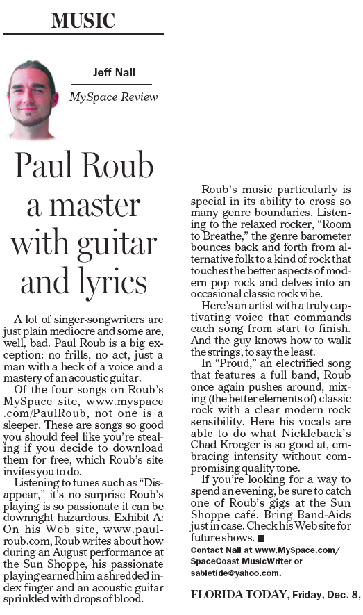 Paul Roub article, by Jeff Nall, 12/8/2006 Florida Today